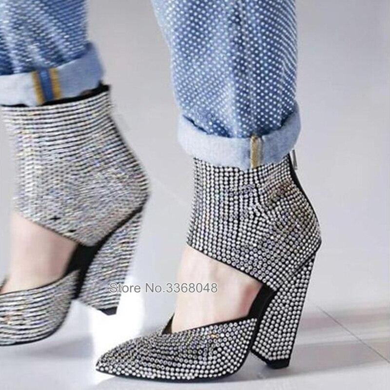 Moda 2020, sandalias con tachuelas de diamantes de imitación ostentosas, botas de tacón alto para mujer, cuñas transparentes, sandalias femeninas de escenario en T
