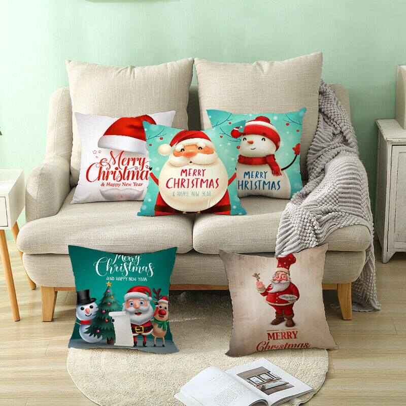 18x18 Christmas Pillow Case Sofa Car Throw Cushion Covers Xmas Home Decors Gift 2019 christmas throw pillow covers santa clause 0utdoor pillow decorations for home sofa bed pillowcase xmas party kids gift