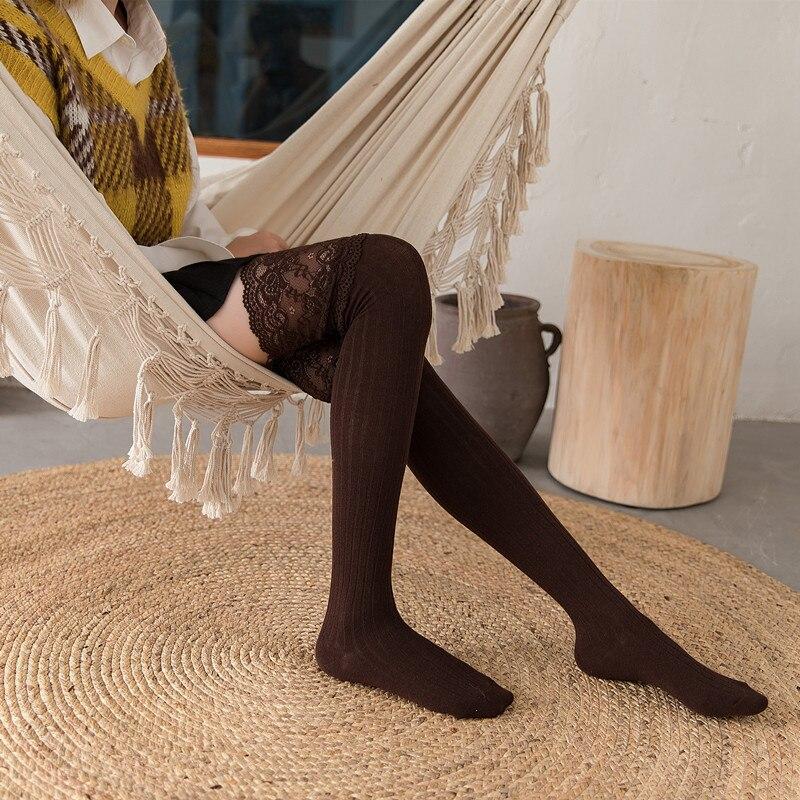 Primavera Otoño Invierno medias calientes lazo de encaje japonés muslo alto acciones niñas Kawaii rodilla calcetines corazón impreso rodilla Calcetines