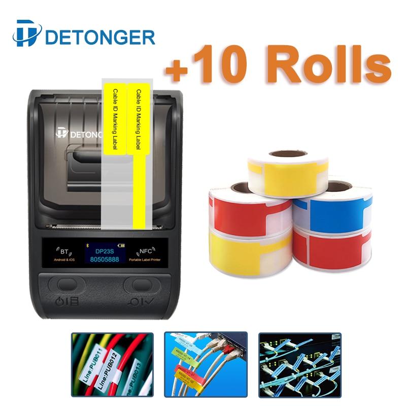 DETONGER 58mm Wireless BT Mobile Thermal Label Printer Plus 10 Rolls Color Cable Label Barcode Portable Label Maker Machine