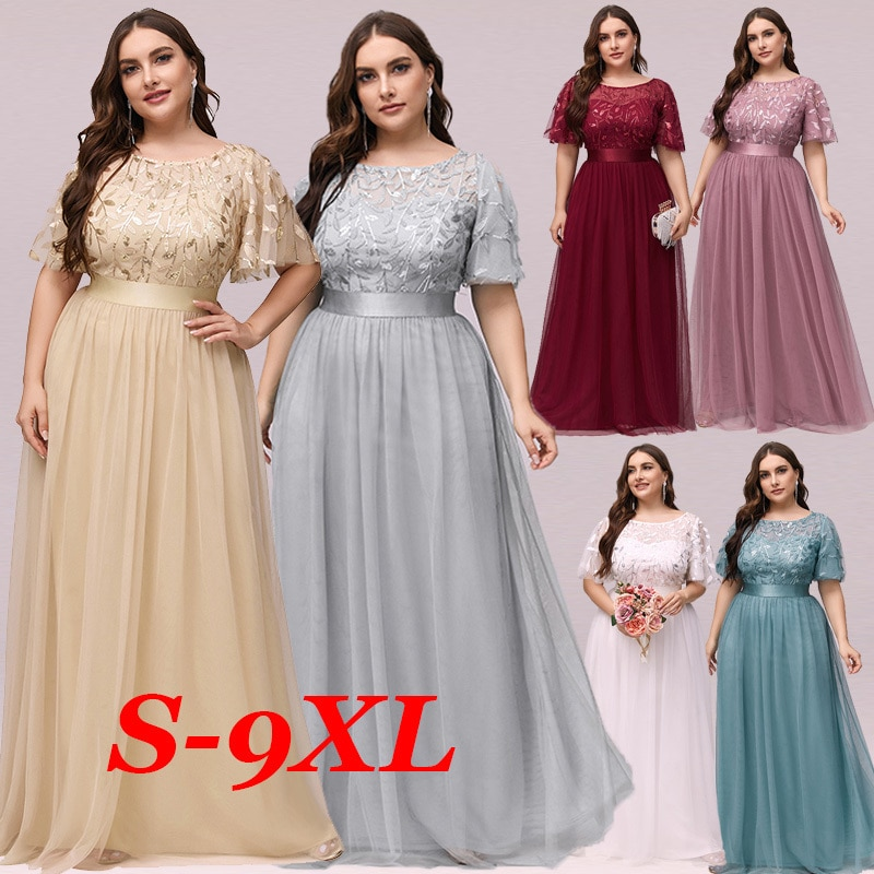 Plus Size Evening Dresses Long Ever Pretty Elegant A Line O Neck Sequin Tulle Formal Party Gown For Wedding Вечерние Платья 2021