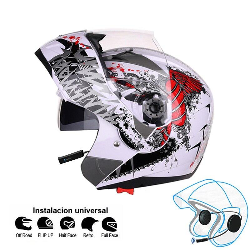 Motorcycle Bluetooth Helmet Flip up Motocicleta Kask BT Casco Moto Double Visors Casque Motor bike Capacete ECE Jiekai