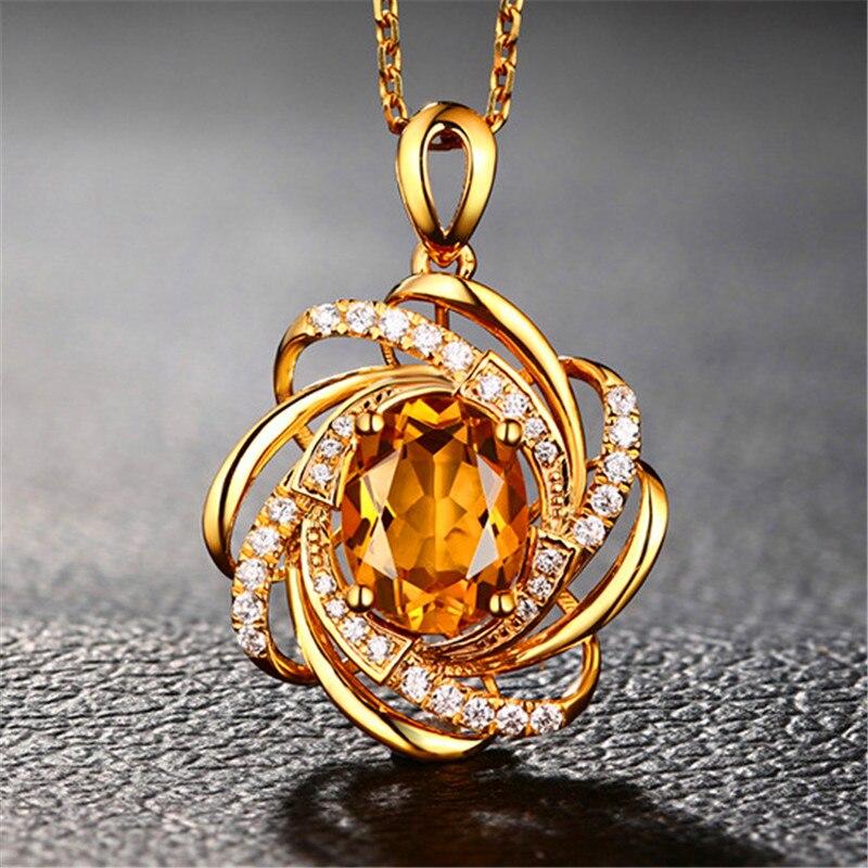 Moda Para Mujer Temperamento Champán Cristal Colgante Collar Cadena Estilo Retro Flor Ovalada Boda Joyería Al Por Mayor