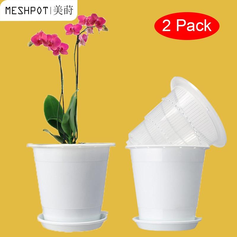 Meshpot 2PC 4 pulgadas maceta de Orquídea transparente ranurada con agujeros Plasitc maceta de Maceta de jardín buen drenaje, 2 maceta interior, 2 maceta exterior, 2 bandejas