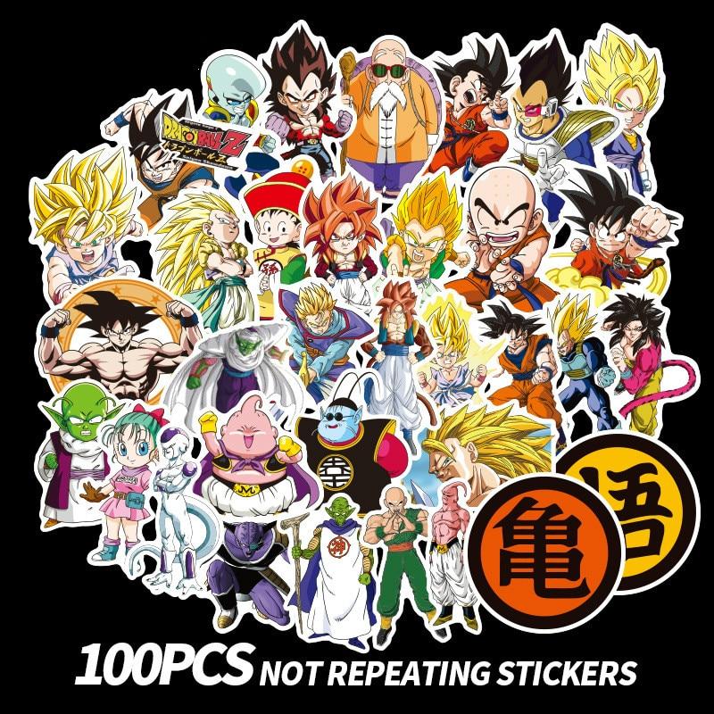 100Pcs/lot Anime Dragon Ball Stickers Super Saiyan Goku Stickers Decal for Snowboard Luggage Car Fridge Laptop Sticker