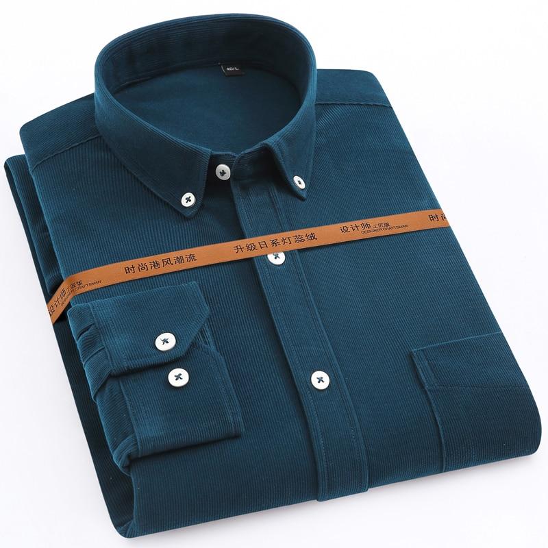 Camisas PANA gruesa de manga larga a la moda para hombres, camisas de un solo Bolsillo tipo parche, cómodas prendas de vestir exteriores de ajuste estándar, camisa de trabajo informal
