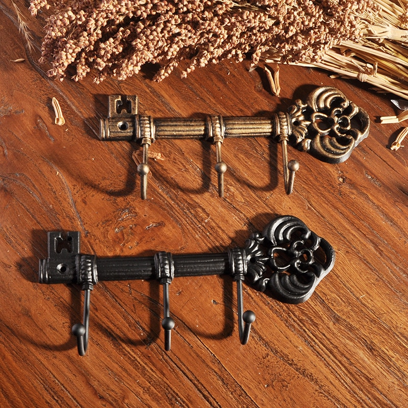 1pc Cast Iron Key Hook Japanese For Clothes And Hats American Country Style Wall