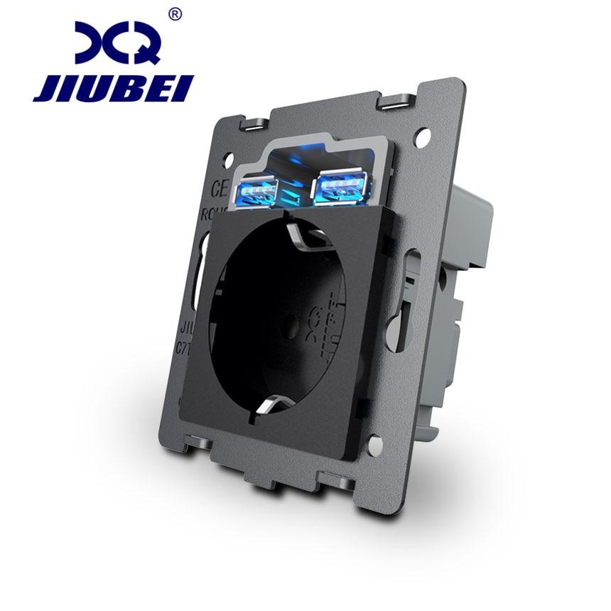Piezas de zócalo USB jiubei DIY, materiales de plástico negro, estándar de la UE, tecla de función para enchufe de pared de la Unión Europea