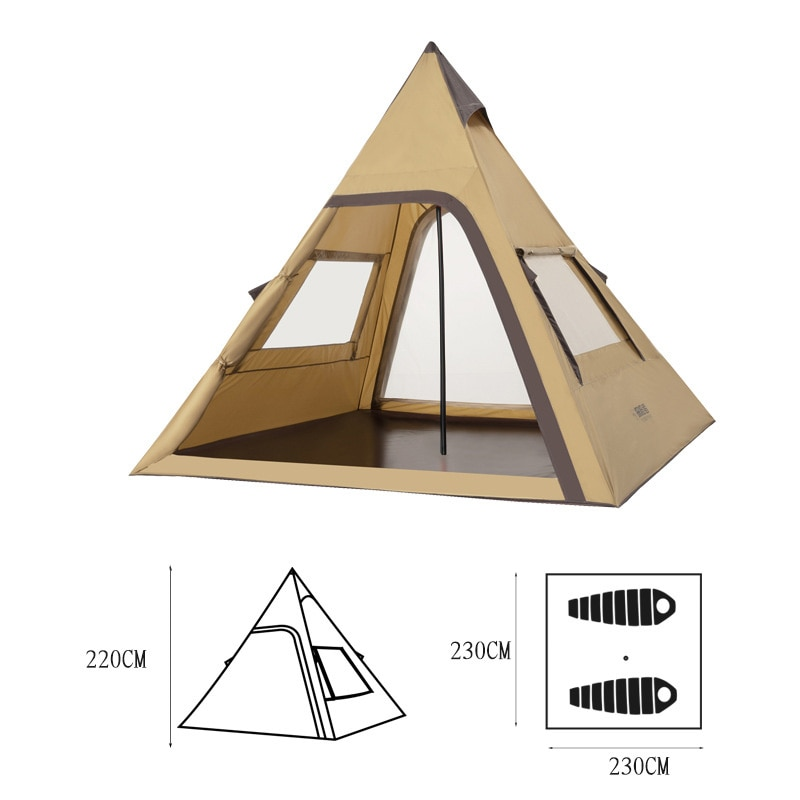 Tipi Tent 1-2 Person Pyramid Style Waterproof Oxford PU Fabric Indian Teepee Wigwam For Outdoor Camping