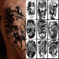 12pcsset tattoo stickers realistic lion tiger wolf waterproof body art animal temporary tattoo for arm