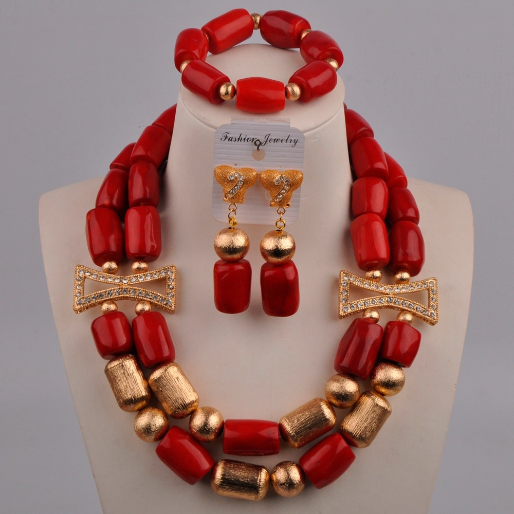 Red Coral Jewelry Set African Wedding Coral Beads Nigerian Women Bridal Jewelry Set 313-A02