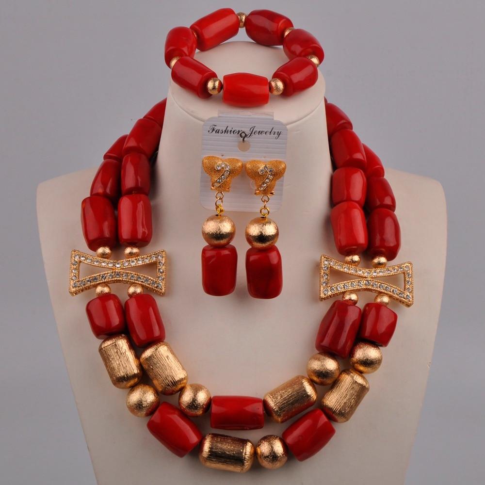 مجموعة مجوهرات الزفاف ، المرجان الأحمر ، الخرز الأفريقي ، النيجيري ، 313-A02