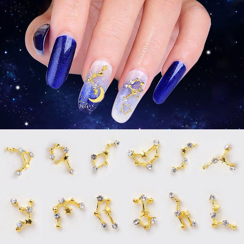 Decoración de uñas de diamantes de imitación 12 signos del zodiaco decoración de Metal Punta de uñas DIY manicura accesorio decoración 3D