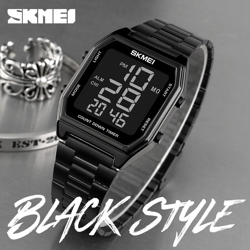 SKMEI LED Dual Time Watches Digital Men Watch Retro Fashion Sport Man Wristwatches Waterproof Alarm Clock For Male Reloj Hombre