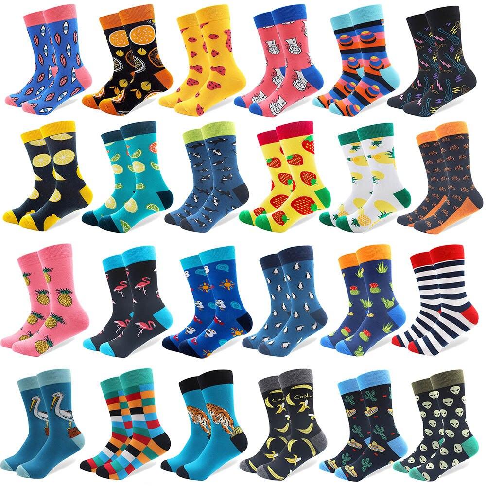 1 par de calcetines divertidos de algodón peinado de marca para hombres novedad Tigre Koala canguro patrón colorido vestido casual calcetines de boda