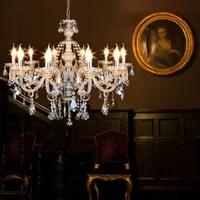 honhill chandeliers 4681015 arms ceiling light cognac chandelier k9 crystal glass light candle lamp e12 e14 110v 220v