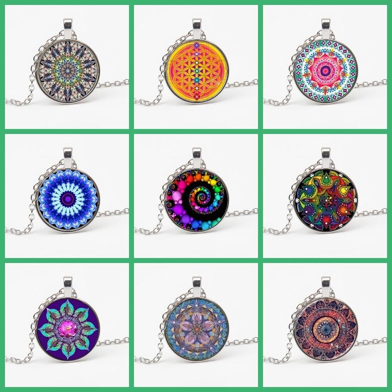 Новое стеклянное круглое массивное ювелирное ожерелье хна ожерелье для йоги очарование Мандала роту ожерелье символ религиозный сувенир ж...