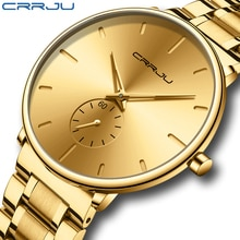 New CRRJU Watches for Men Top Brand Luxury Fashion Business Quartz Men's Wristwatch Stainless Stee