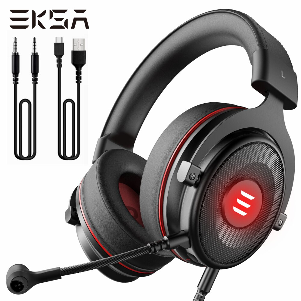 EKSA E900 برو الظاهري 7.1 الصوت المحيطي سماعة الألعاب Led USB/3.5 مللي متر السلكية سماعة مع مايكروفون التحكم في مستوى الصوت ل Xbox PC Gamer
