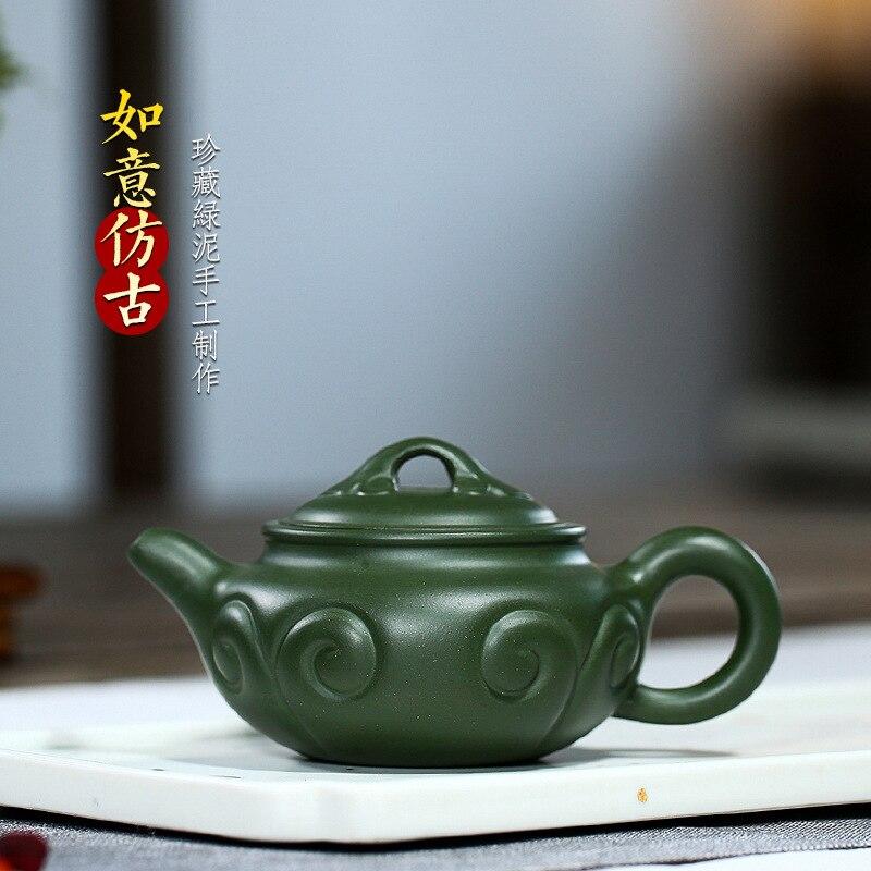 Yixing-إبريق شاي من الطين الأرجواني ، طقم شاي مصنوع يدويًا من الطين الأخضر النقي Ruyi ، إبريق شاي عتيق مستقيم