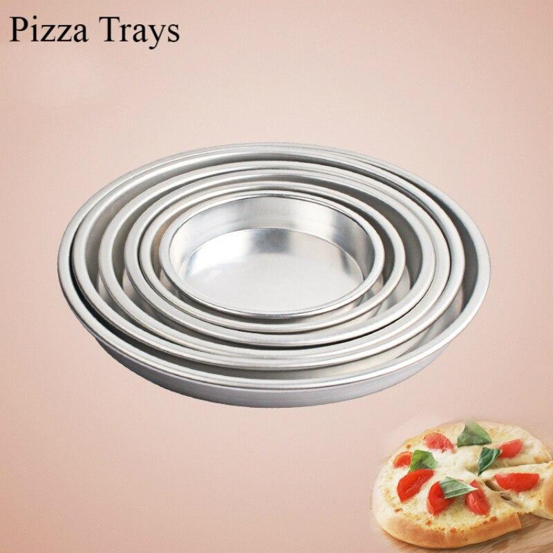 5 6 7 8 9 10 pulgadas bandejas para hornear Pizza para hornos moldes de placa de Pizza de aleación de aluminio bandeja redonda para hornear pasteles bandeja para hornear