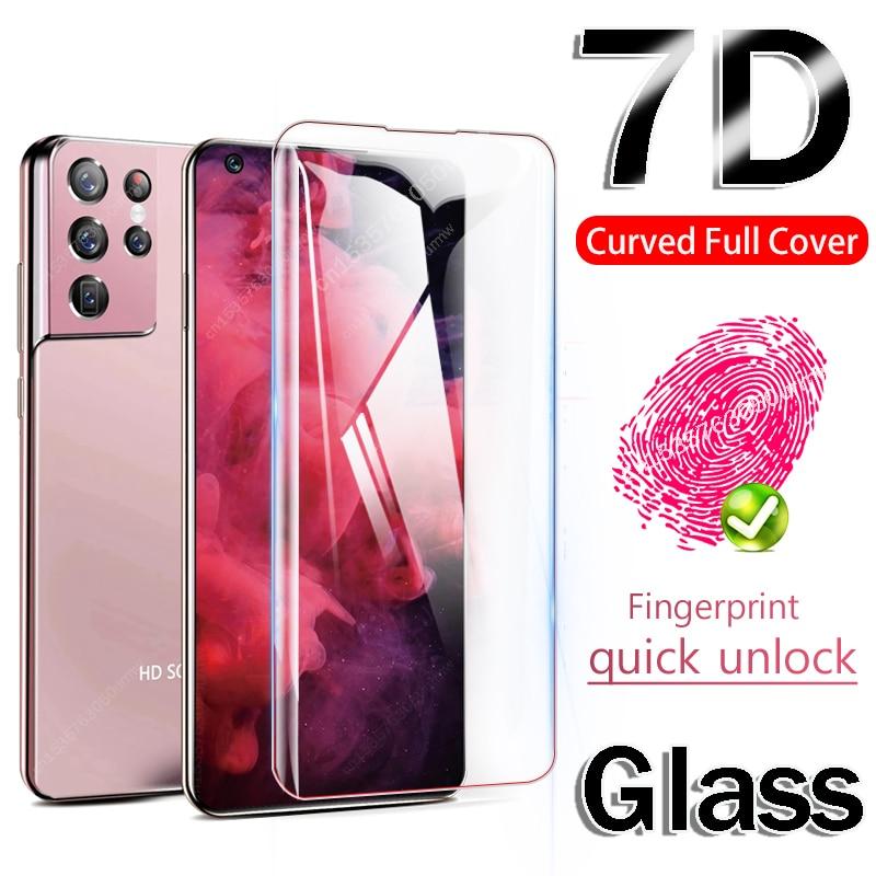 Protector de pantalla de vidrio templado 7D para Samsung S21 Plus Ultra Note 20 S20, Protector de pantalla para S10 Plus S10 S8 S9 5G E, vidrio Protector S 20 21 10