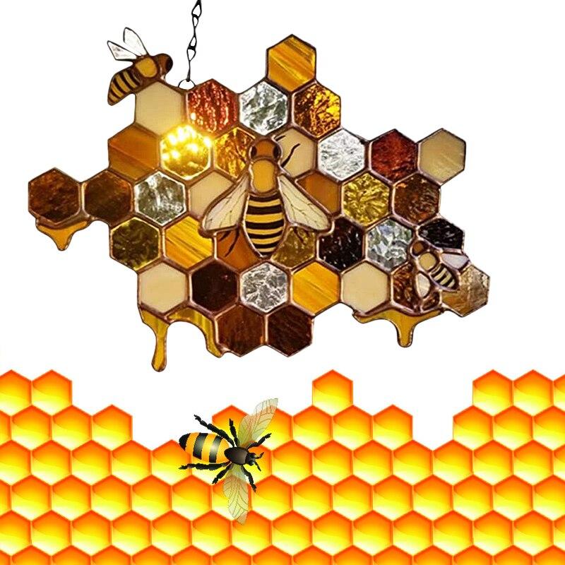 Queen & Bee Protect Honey Suncatcher Bee Hanging Pendant Art Decoration Hexagonal Geometry Photography Props Room Ornaments  - buy with discount