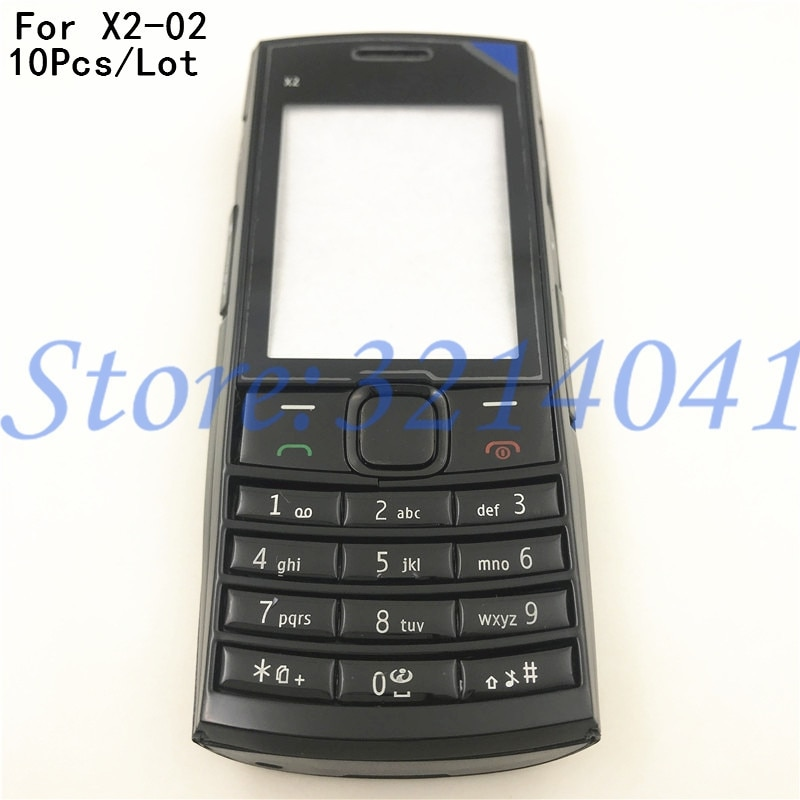 10 unids/lote, carcasa completa nueva para Nokia X2 X2-02, carcasa protectora para batería con teclado Inglés