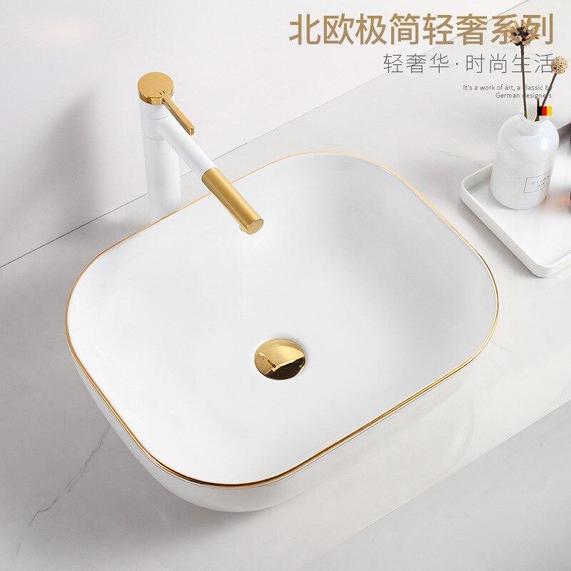 بسيط الأبيض كونترتوب بالوعات للحمام حوض بالوعة السيراميك حوض غسيل الذهب الأبيض الشامبو السلطانية مستطيلة Ez حوض شامبو
