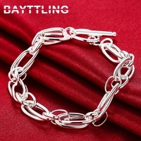 bayttling 925 sterling silver bracelet 8 inch exquisite multi loop bracelet for woman man luxury party gift jewelry