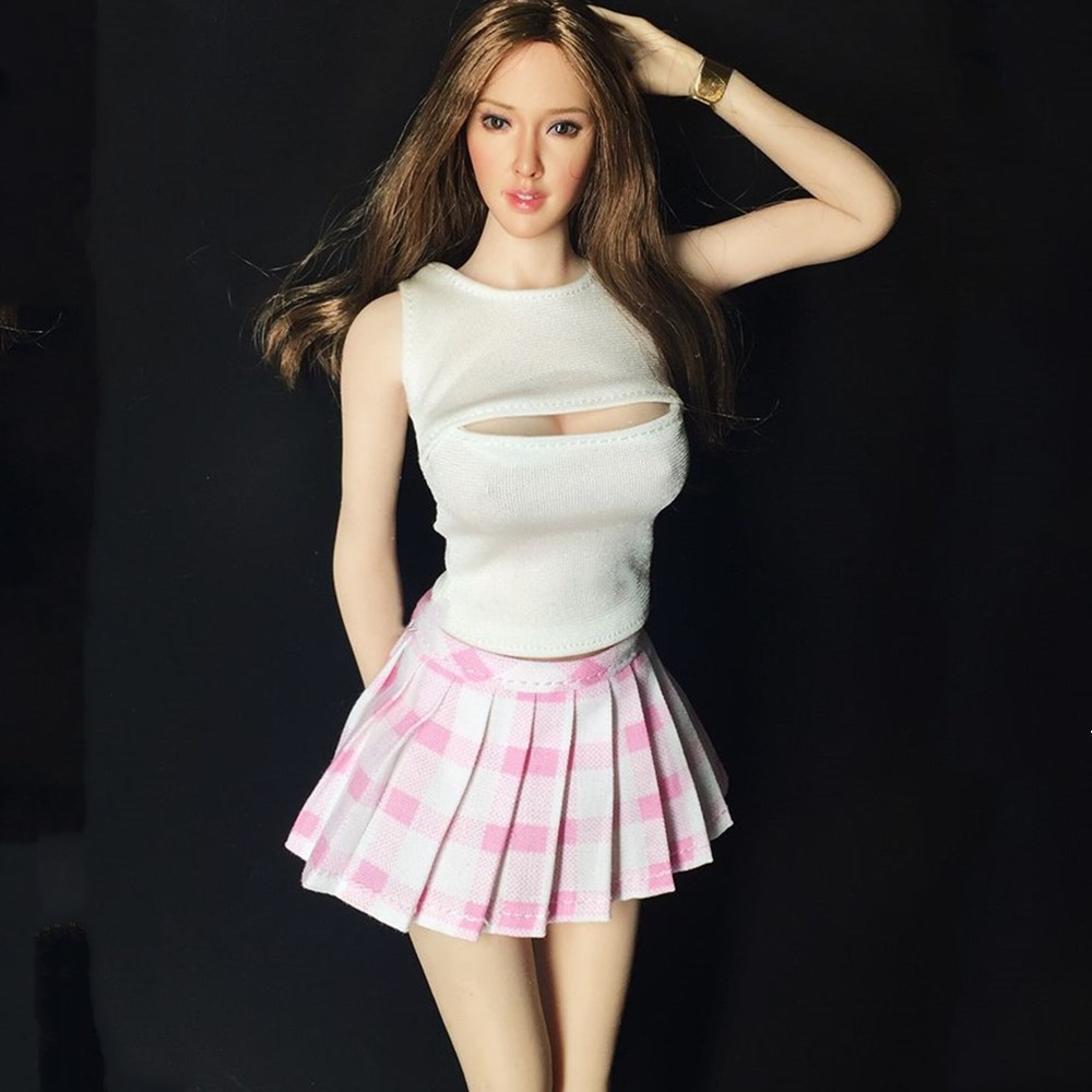 1/6 open Chest Sweater & Pleated Skirt Suit Costume for 12inch UD LD PH HS Collectible Action Figures DIY