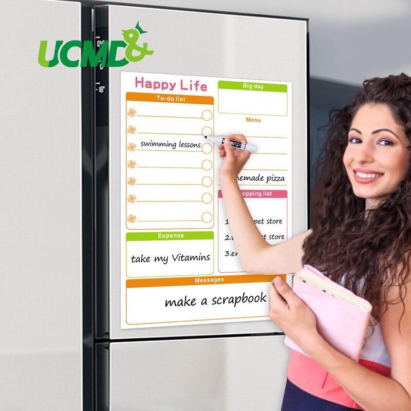 Calendário magnético quadro branco semanal agenda diária planejador geladeira ímãs compras a fazer lista menu placa de mensagem para cozinha