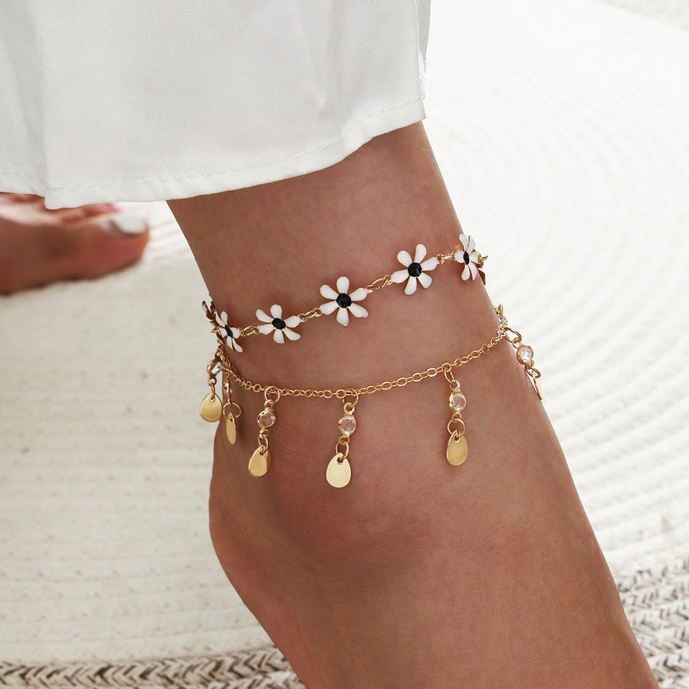 Wgoud moda boho tornozeleira define novo design multicamadas cadeias de metal starfish concha tornozelo pulseira descalço sandálias jóias femininas