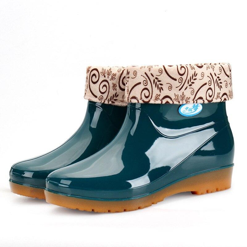 Nuevas Botas de lluvia de ocio para mujer, zapatos de punta redonda de tacón bajo, Botas de lluvia de tubo medio impermeables, zapatos de mujer 698