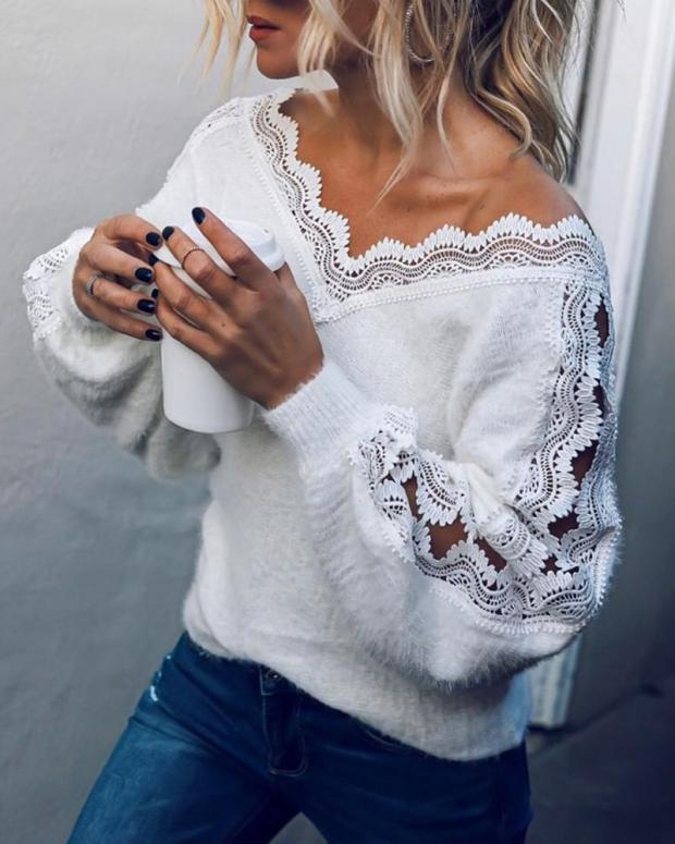 Suéter de punto Sexy con volantes ropa de hombro ropa de Mujer con correa Ropa de señora Sueter Mujer Invierno 2019 otoño