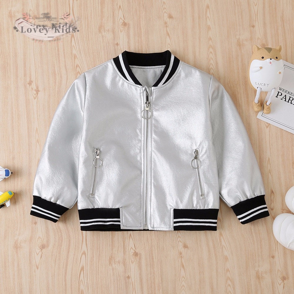2020 Autumn Toddler Baby Boy Coat Fashion Outwear Silver Leather Jacket Zipper With Pockets Baseball