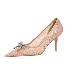 {D&Henlu}Women Shoes Heel Woman Flock High Heels Pumps Ladies Party Shoes Pointed Toe Summer Heels S