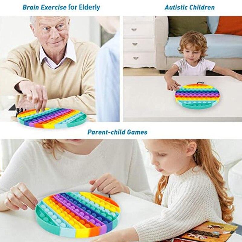 BIG SIZE Fidge Toys Poppit Square Antistress Toy Push Bubble Figet Sensory Squishy Jouet Pour Autiste For Adult Children Gift enlarge