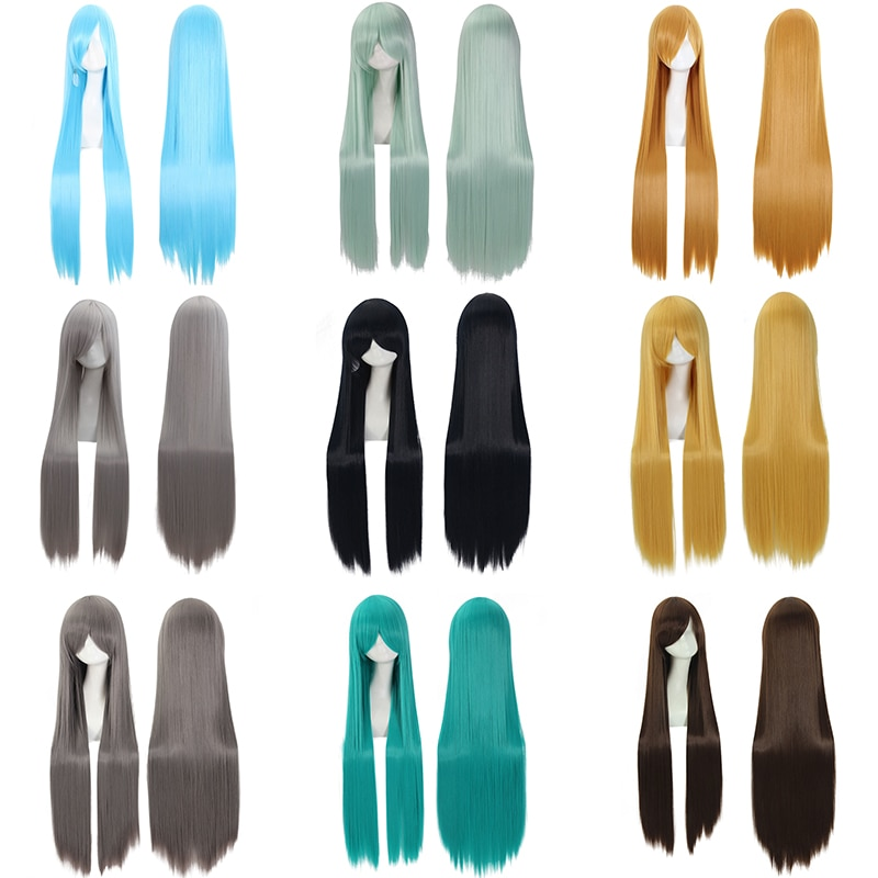 36Color Long Straight Heat Resistant Synthetic Hair 60cm/24inch Wiiversal Cartoon Cosplay Wig Anime