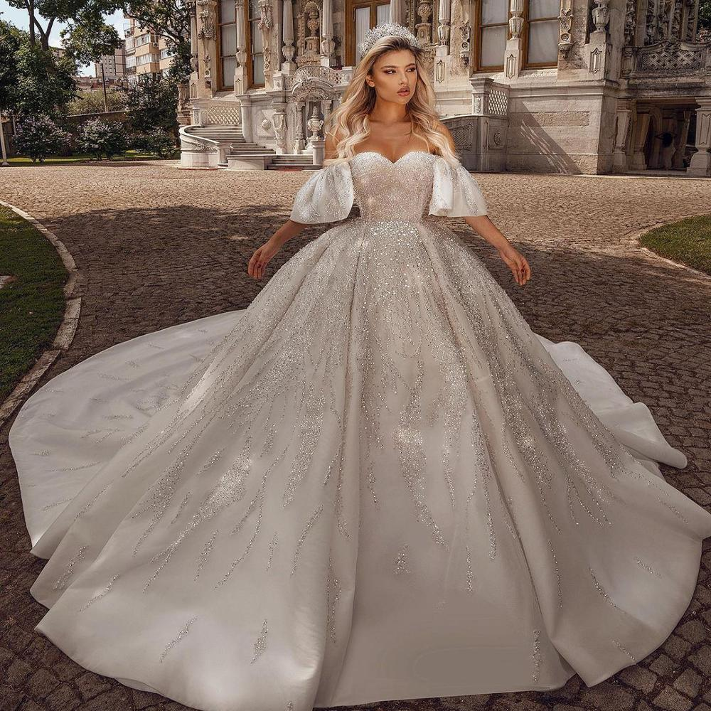 فستان زفاف فاخر مطرز بالكريستال ، فستان زفاف فاخر ، مخصص ، 2021
