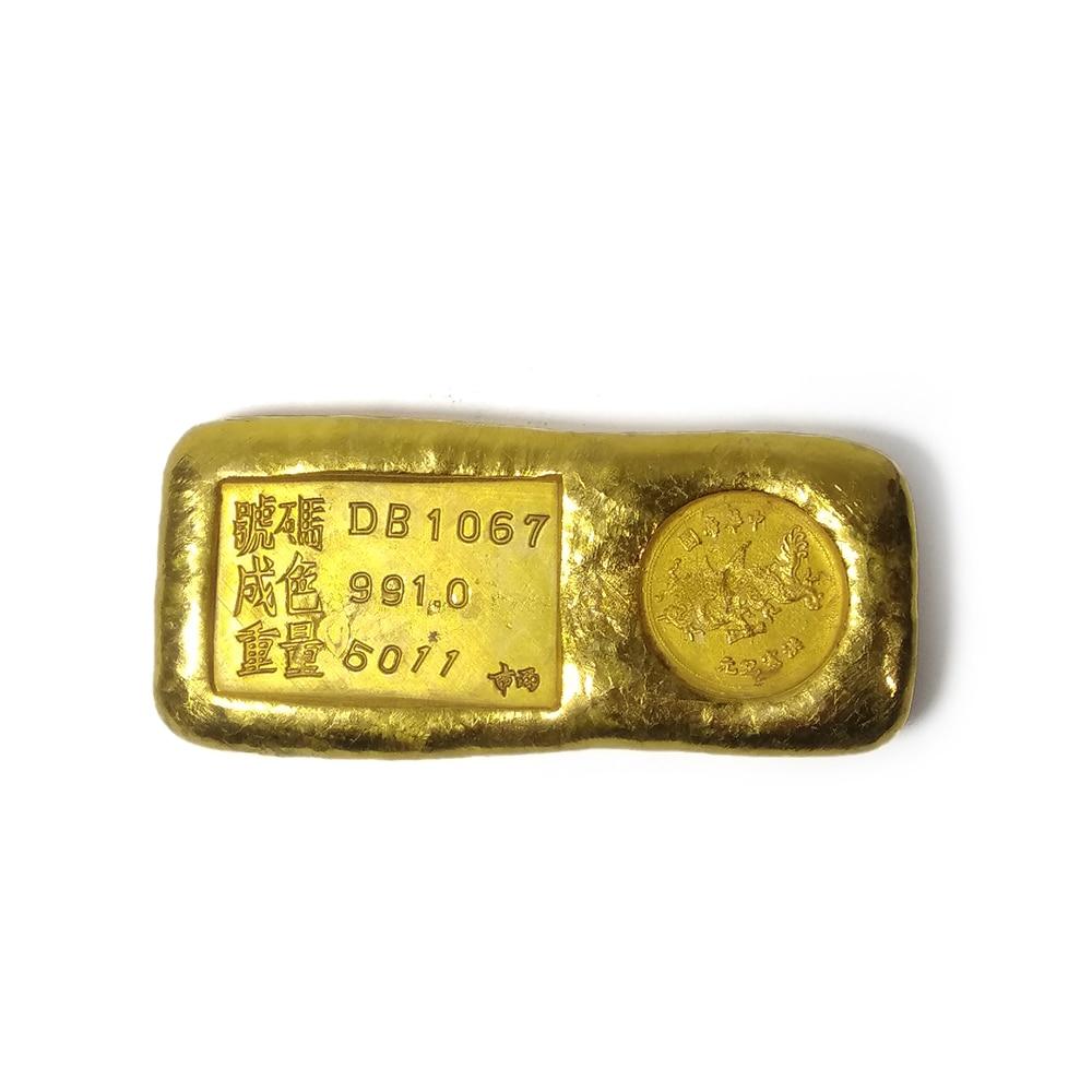 LAOJUNLU Imitation Antique Brass Gold Ingot Dragon Gold Bar Gold Ingot