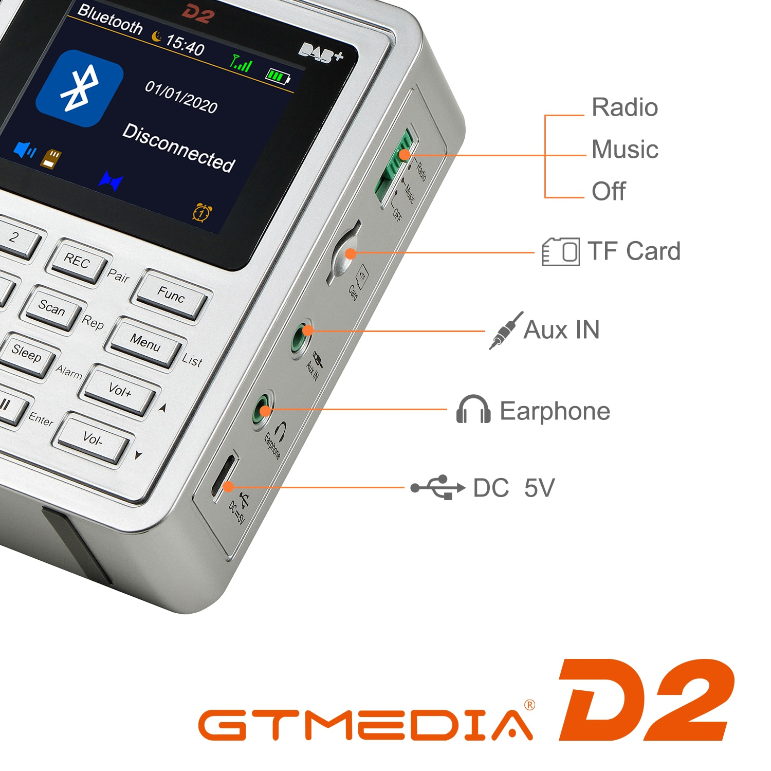 GTMEDIA D2 Portable Radio FM DAB Stereo / RDS Multi Band Radio Speakers with 2.4 Inch LCD Display Alarm Support Micro SD TF Card enlarge