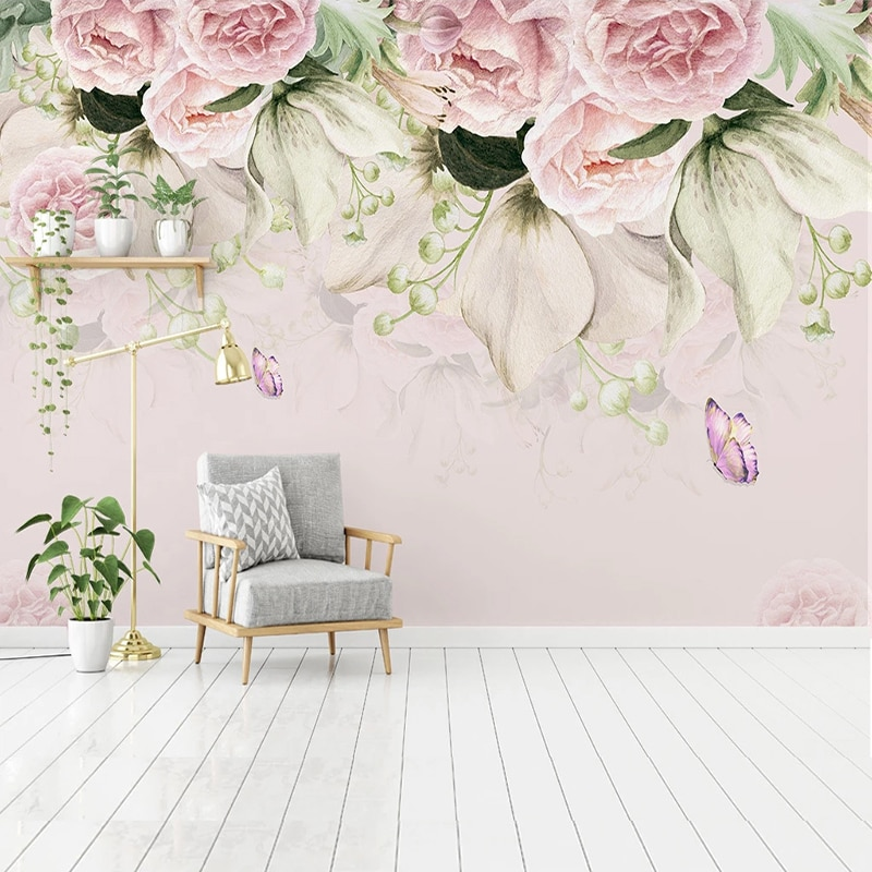 Custom 3D Wall Murals Wallpaper Flower Butterfly European Style Pastoral Living Room Sofa Bedroom Fresco Papers Home Decor