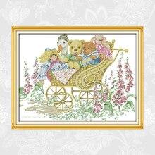 Happy Liitle-ours comptés bricolage   Kit de point de croix fait à la main, couture porcelaine, point de croix imprimé sur toile pour broderie
