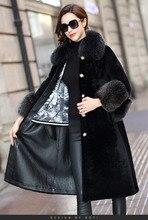 Double face manteau femme fourrure de renard col naturel laine manteaux 2020 hiver femmes en cuir véritable veste MY3717