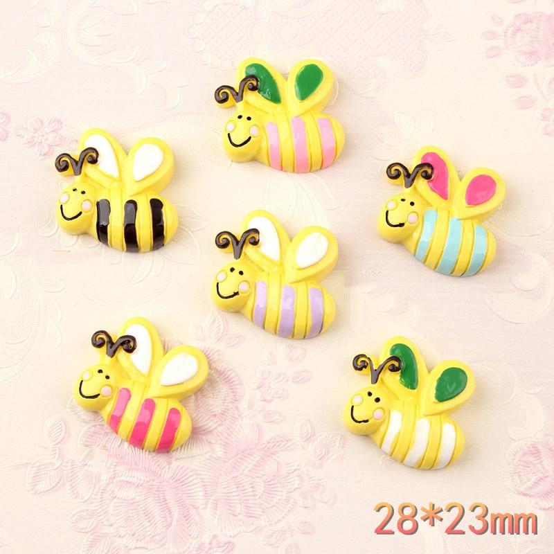 28*23mm colorido bonito abelha resina cabochons flatback ornamento acessórios contas de argila encantos menina meaterial cabelo jóias arco diy
