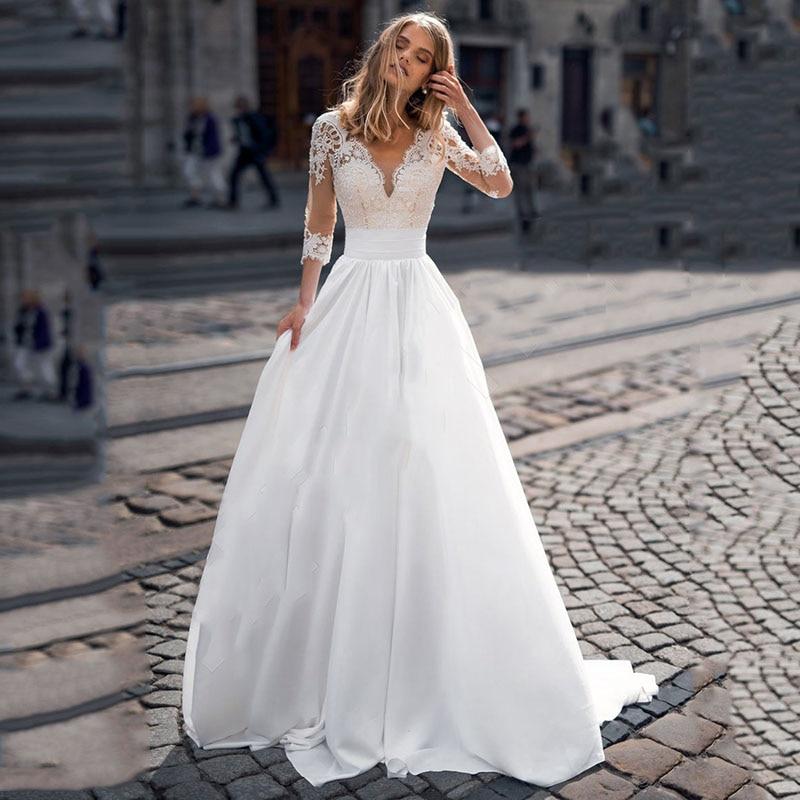 Boho Wedding Dress 2021 Lace Appliques V Neck 3/4 Sleeves Bridal Gowns Beach Satin Vestidos De Novia Sweep Train Robe De Mariage