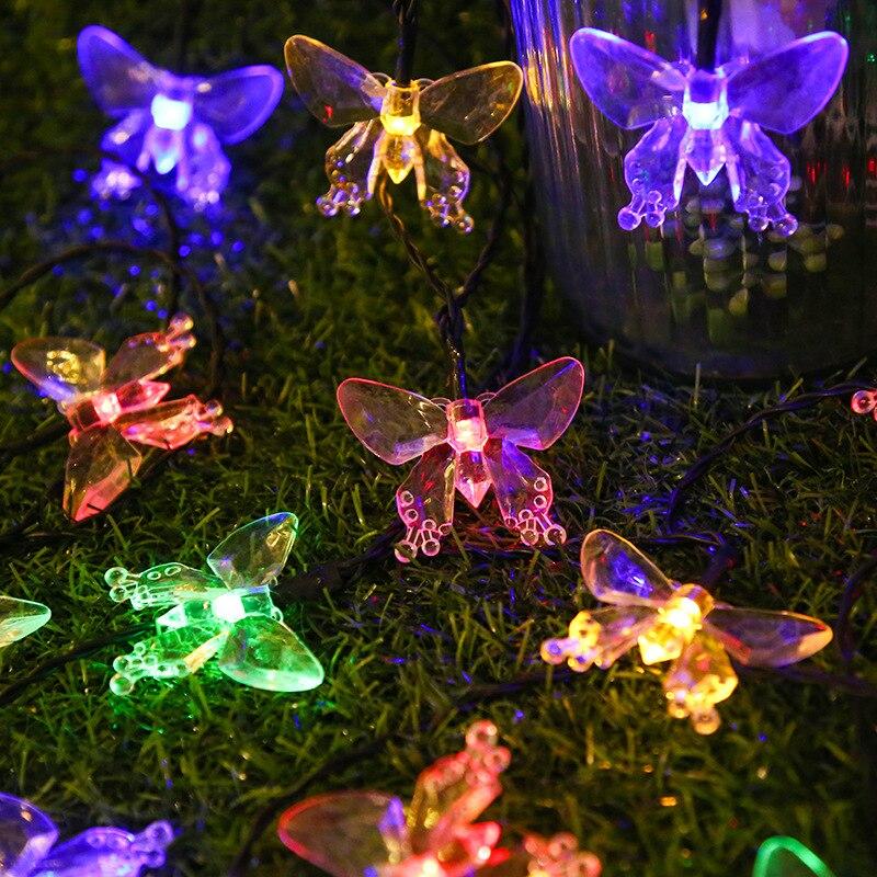 Светодиодная гирлянда на солнечной батарее в виде бабочки, уличный Водонепроницаемый светодиодный светильник ильник на солнечной батарее ...