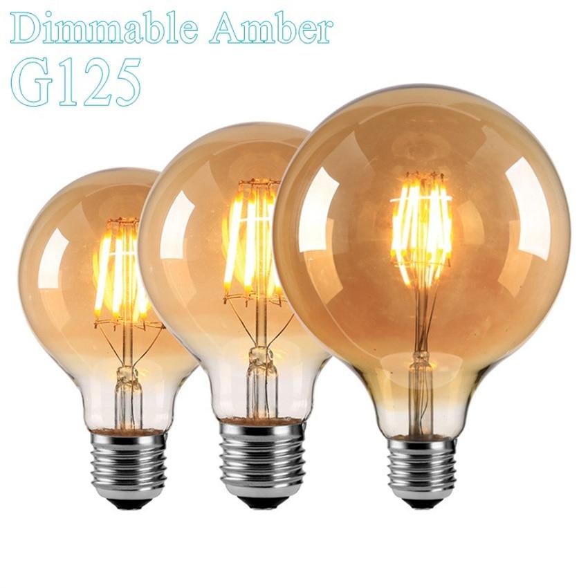 Free Shipping G125 Filament Type Ball lamp Cap E27 60w Equivalent Premium LED Light Bulb 600lm Long-Life Energy-Saving