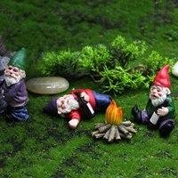 Statue de gnomes nains en resine  4 pieces  accessoires de decoration pour la maison  ornements feeriques pour le jardin et la cour  Micro decoration de paysage